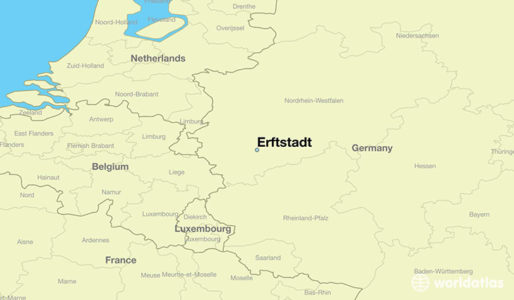 map showing the location of Erftstadt
