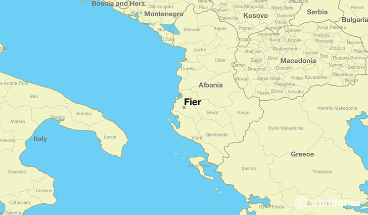 map showing the location of Fier