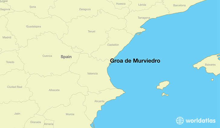map showing the location of Groa de Murviedro