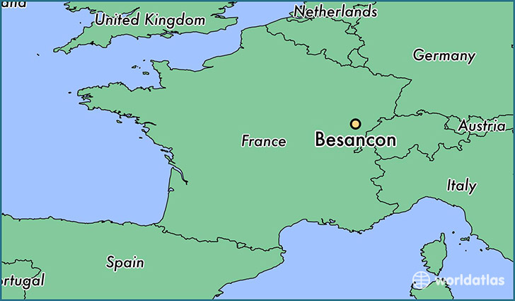 map showing the location of Besancon