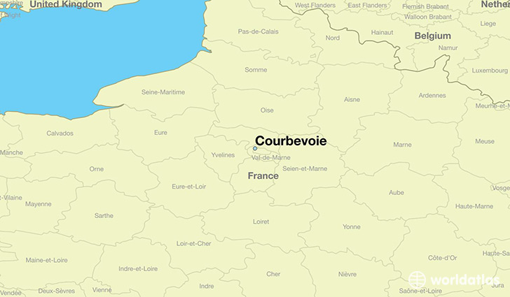 map showing the location of Courbevoie