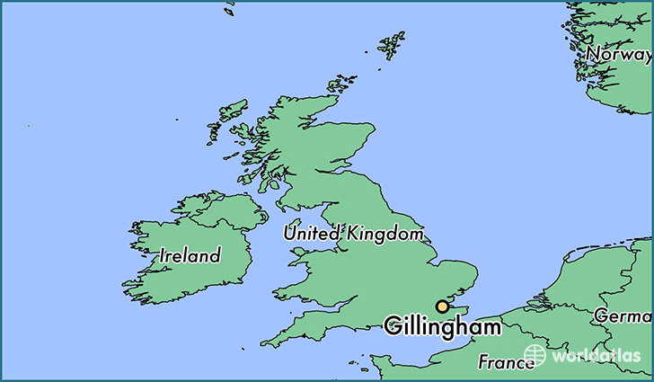 map showing the location of Gillingham