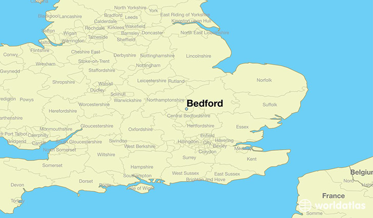 map showing the location of Bedford