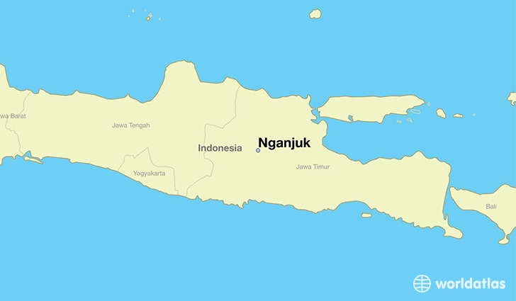 map showing the location of Nganjuk