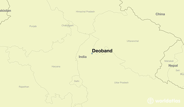 map showing the location of Deoband
