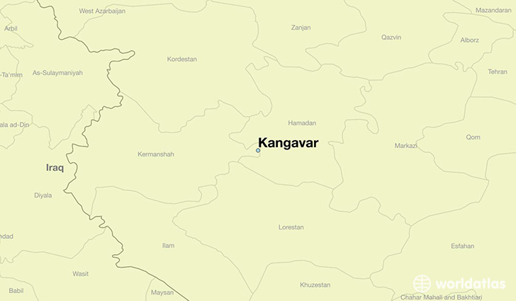 map showing the location of Kangavar