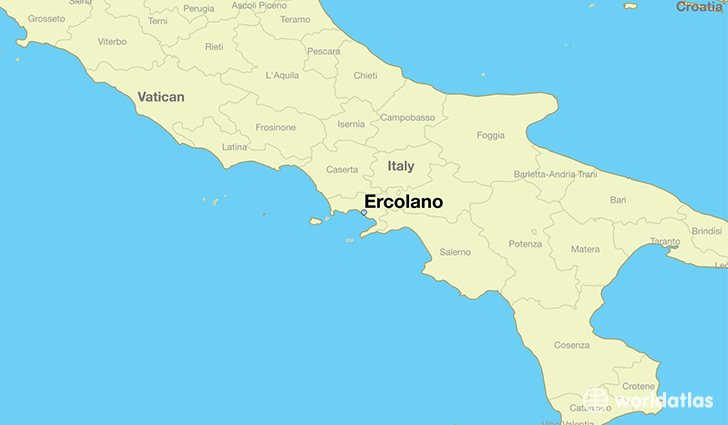 map showing the location of Ercolano