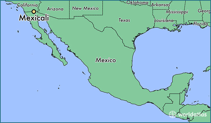 map showing the location of Mexicali