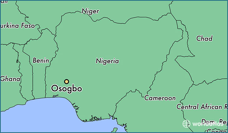 map showing the location of Osogbo