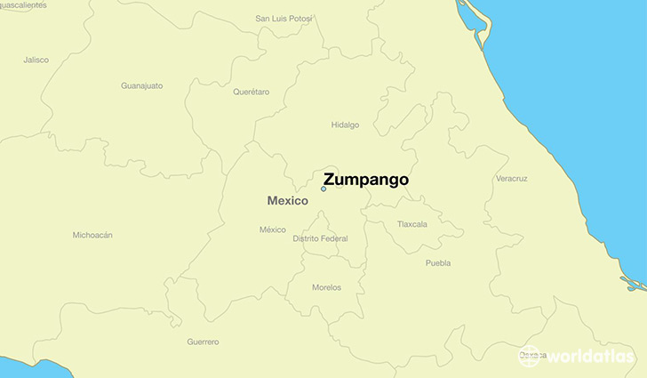 map showing the location of Zumpango