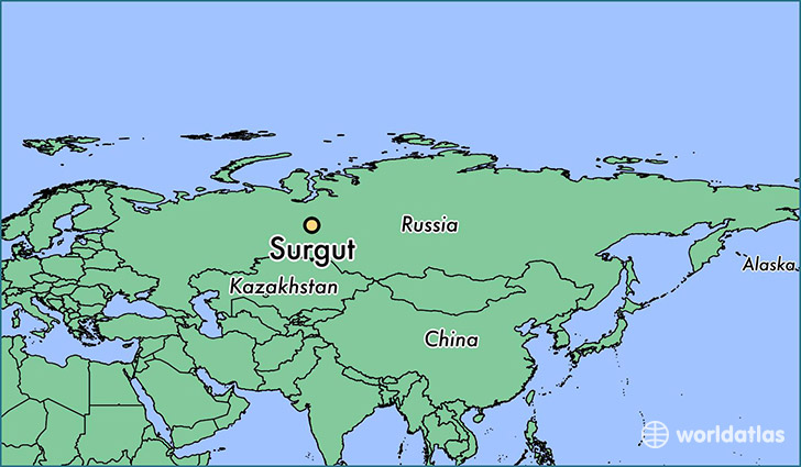 map showing the location of Surgut