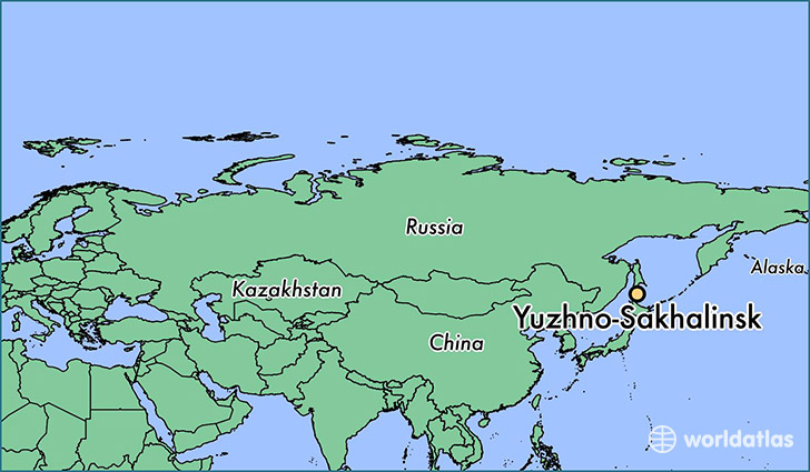 map showing the location of Yuzhno-Sakhalinsk