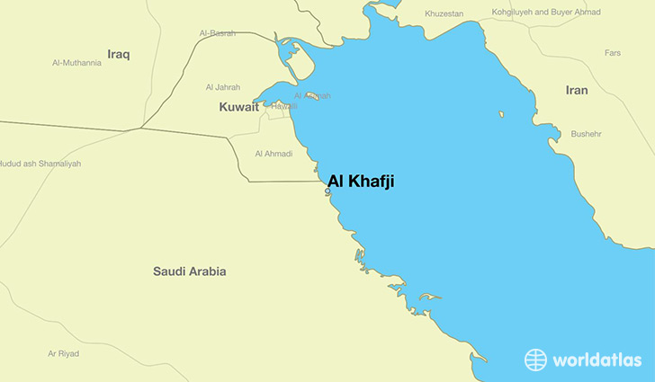 map showing the location of Al Khafji