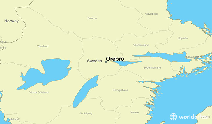 map showing the location of Orebro