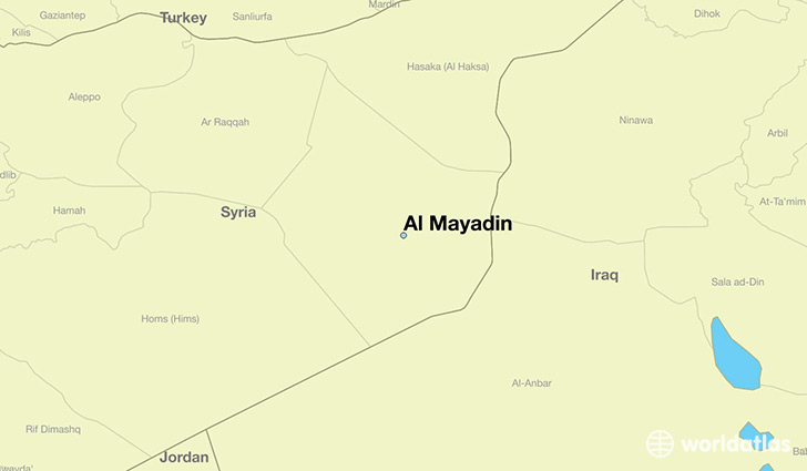 map showing the location of Al Mayadin