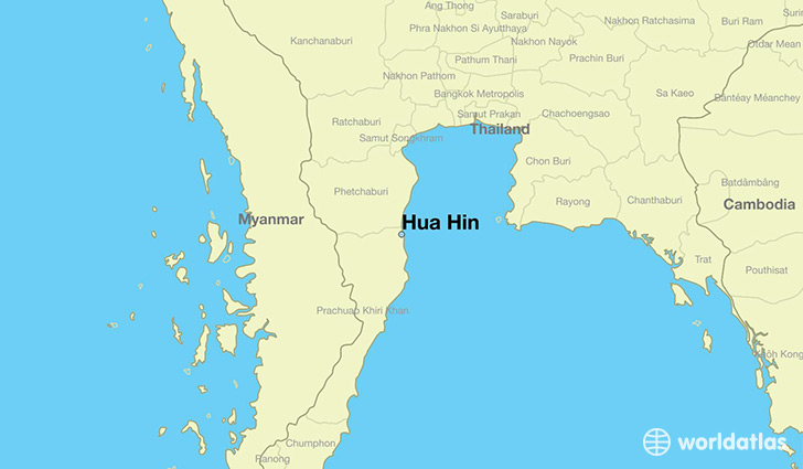 Where is hua hin thailand hua hin prachuap khiri khan map map showing the location of hua hin sciox Image collections