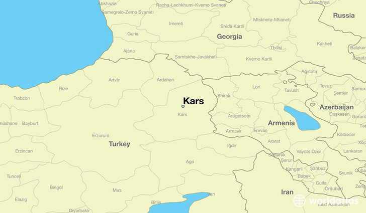 map showing the location of Kars