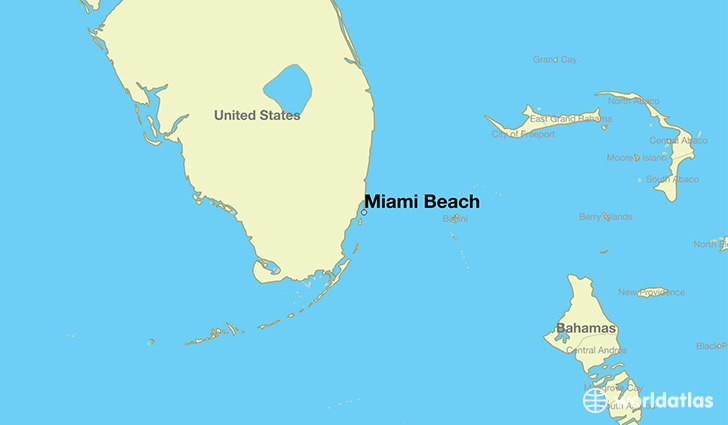 map showing the location of Miami Beach