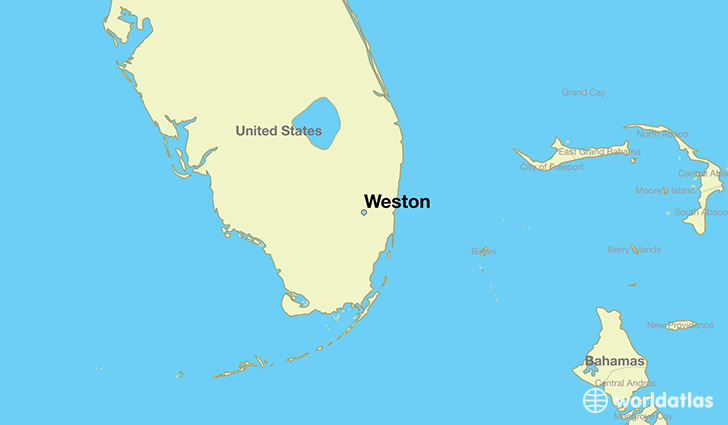 map showing the location of Weston