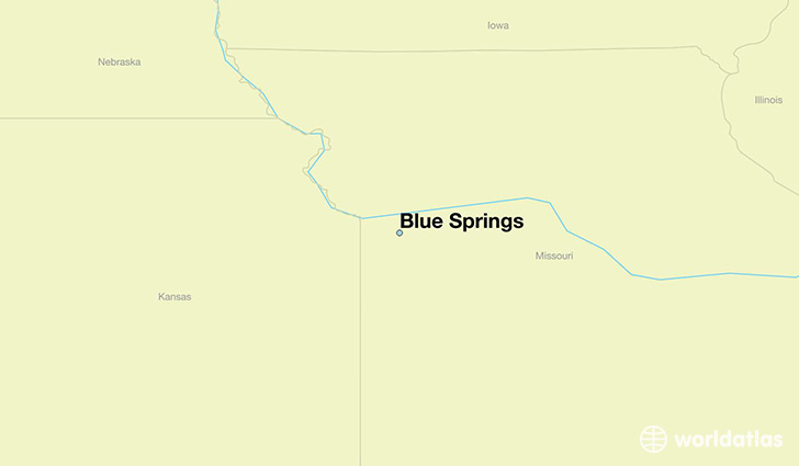 map showing the location of Blue Springs