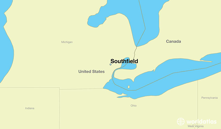 map showing the location of Southfield