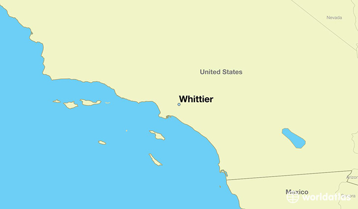 map showing the location of Whittier