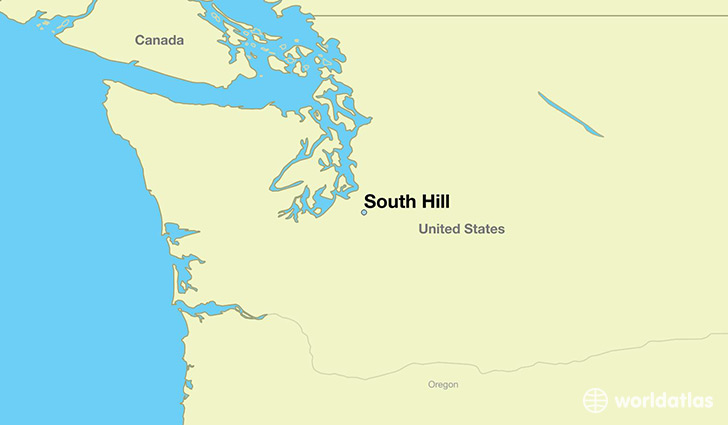 map showing the location of South Hill