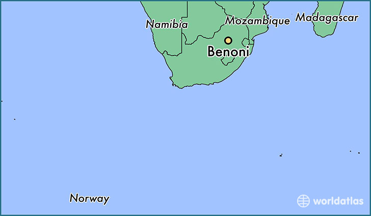 map showing the location of Benoni