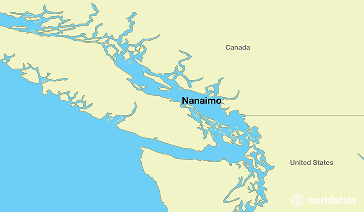 map showing the location of Nanaimo