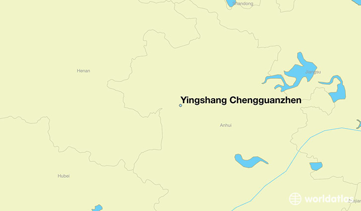 map showing the location of Yingshang Chengguanzhen