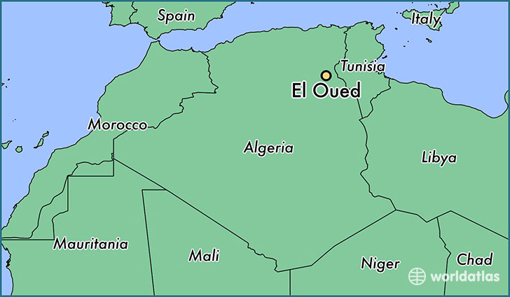 map showing the location of El Oued