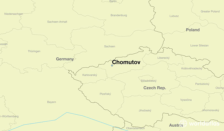 map showing the location of Chomutov