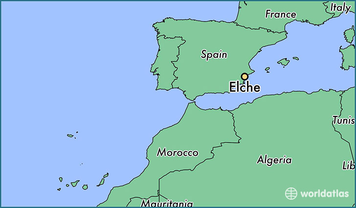 map showing the location of Elche