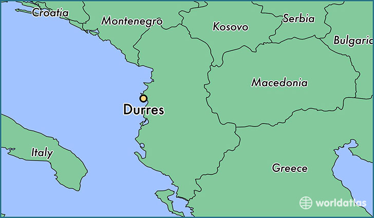map showing the location of Durres