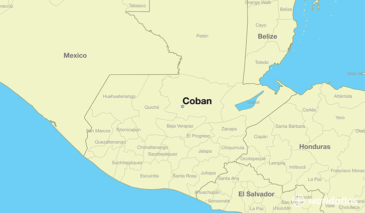 map showing the location of Coban
