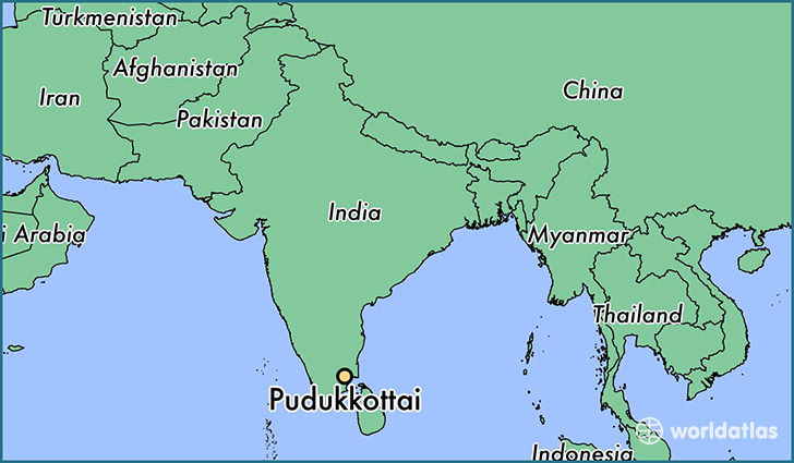 map showing the location of Pudukkottai