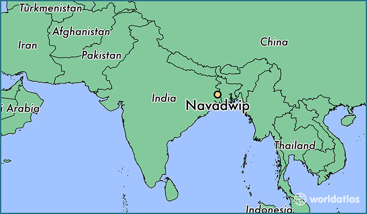map showing the location of Navadwip