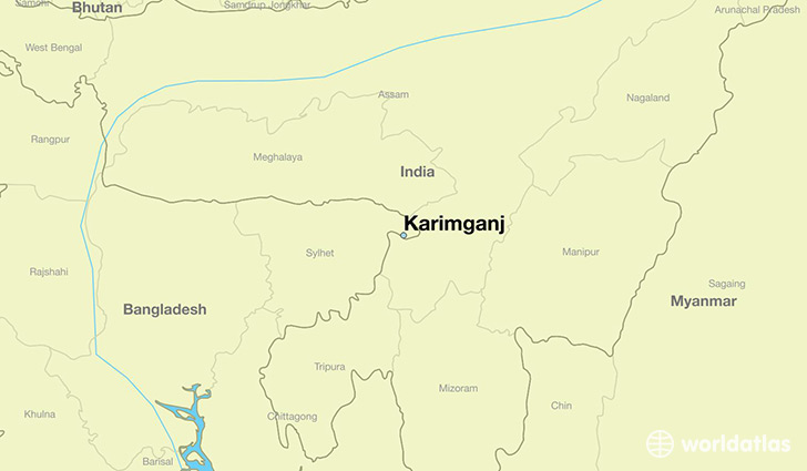 map showing the location of Karimganj