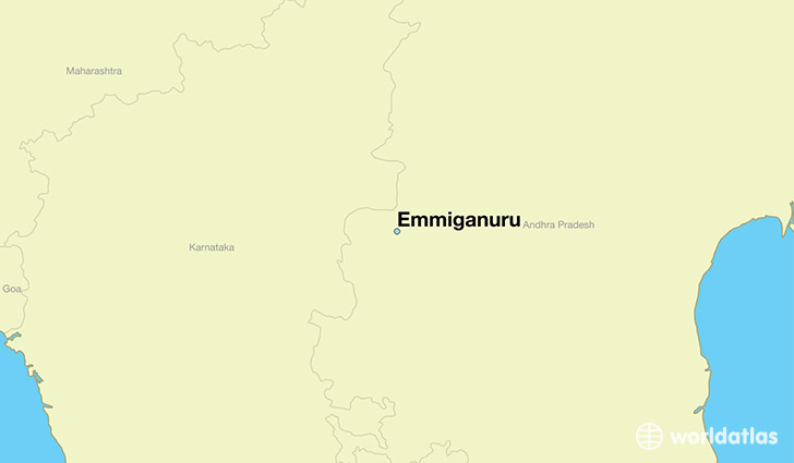 map showing the location of Emmiganuru