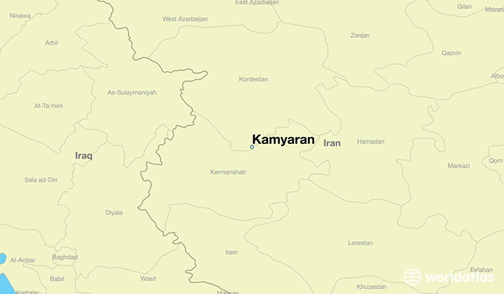 map showing the location of Kamyaran