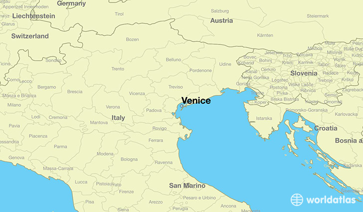 Where is venice italy venice veneto map worldatlas map showing the location of venice gumiabroncs Gallery