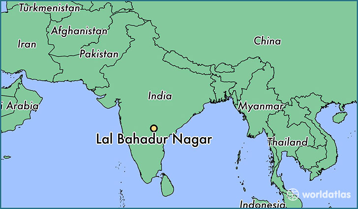 map showing the location of Lal Bahadur Nagar