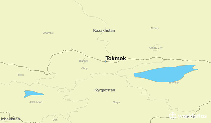map showing the location of Tokmok