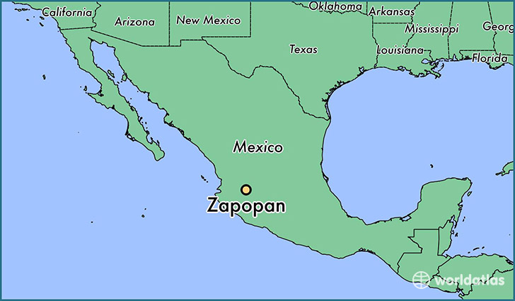 map showing the location of Zapopan