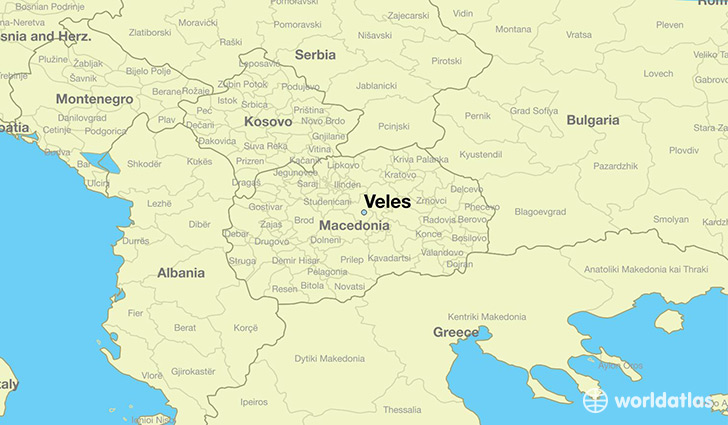 map showing the location of Veles