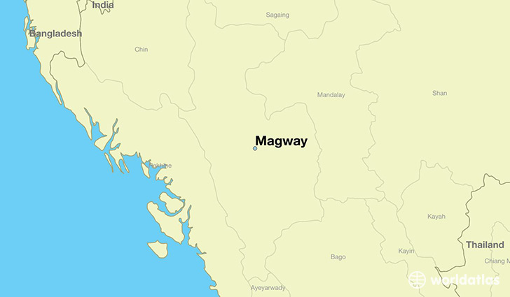 map showing the location of Magway