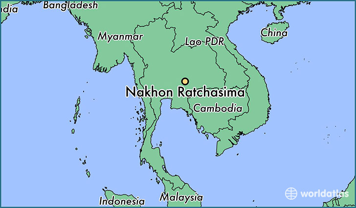 map showing the location of Nakhon Ratchasima