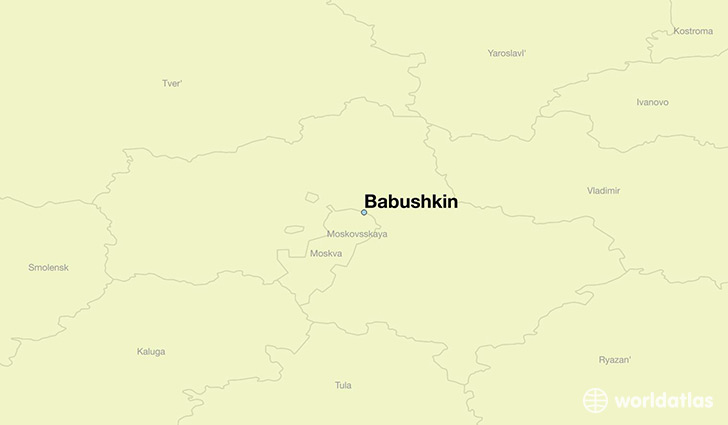map showing the location of Babushkin
