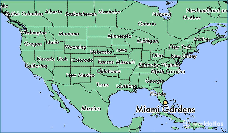 map showing the location of Miami Gardens
