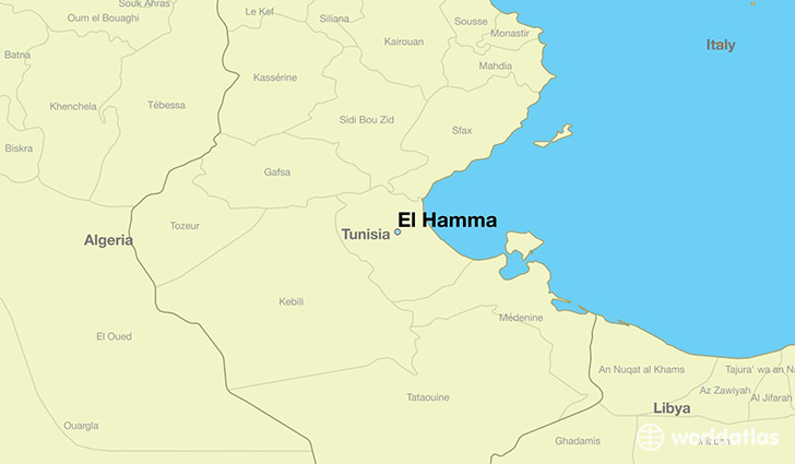 Where is El Hamma Tunisia El Hamma Qabis Map WorldAtlascom